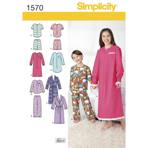 Simplicity Pattern 1570 Child's, Girls', and Boys' Loungewear