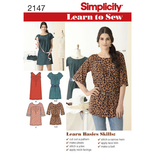 Simplicity Pattern 2147 Learn-to-Sew Misses' Dresses