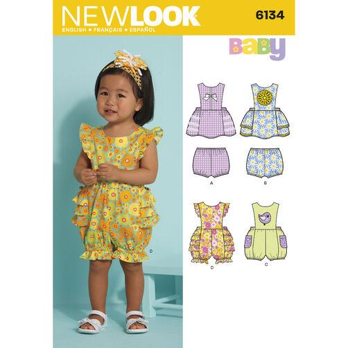 New Look Pattern 6134 Babies' Dress, Romper & Panties