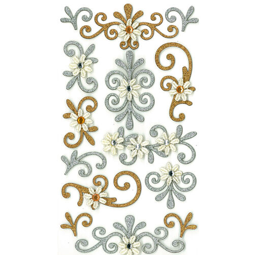 Gold And Silver Flourishes Stickers_50-50301