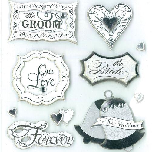 Silver Wedding Sentiments Dimensional Sticker _30-577787