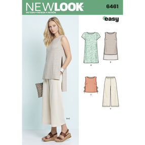 New Look Pattern 6461 Misses' Dress, Tunic, Top and Cropped Pants