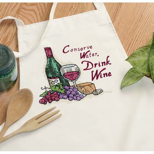 Drink Wine Apron, Stamped Cross Stitch_73517