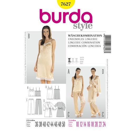 Burda Style Pattern 7627 Lingerie Coordinates