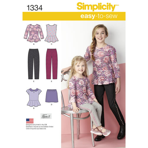 Simplicity Pattern 1334 Child's & Girls' Top, Mini Skirt and Slim Pants