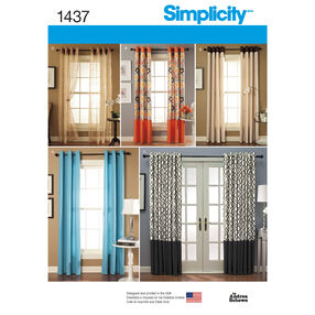 Simplicity Pattern 1437 Window Treatments in 2 Lengths with Grommet Tops