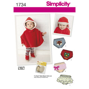 Simplicity Pattern 1734 Babies' Poncho and Accessories
