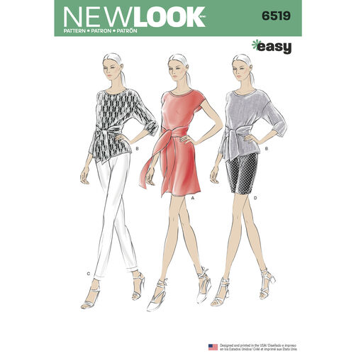New Look Pattern 6519 Misses' Dress or Top and Pants or Shorts