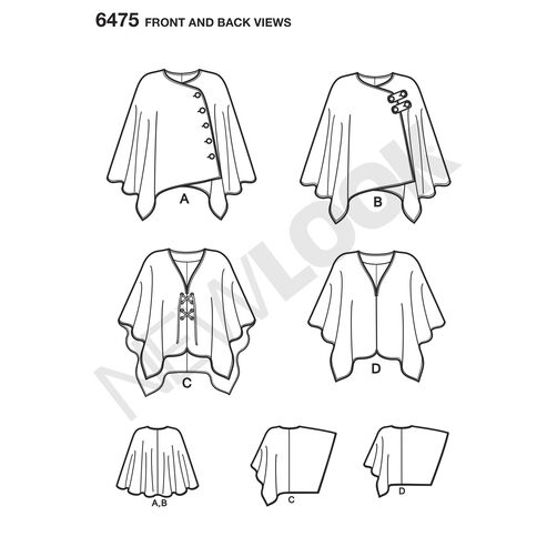 New Look Pattern 6475 Misses' Easy Poncho and Cape