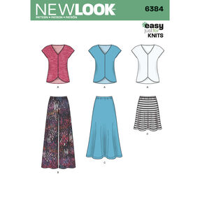 Misses' Knit Top, Skirt and Pants
