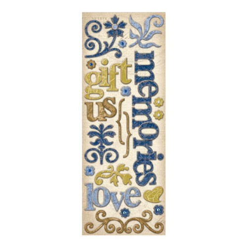 Blue Awning Words and Swirls Adhesive Chipboard_566842
