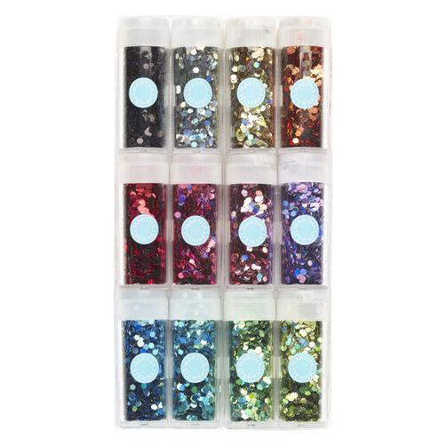 Hexagonal Glitter 12 Pack  _40-34045