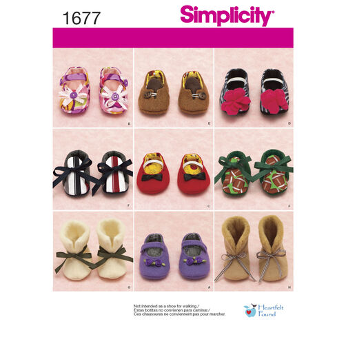 Simplicity Pattern 1677 Baby Shoes in Three Sizes