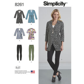 Simplicity Pattern 8261 Misses' Wrap Tunic in Two Lengths and Knit Leggings