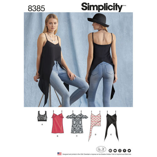 Simplicity Pattern 8385 Misses' Tops and Knit Bralette