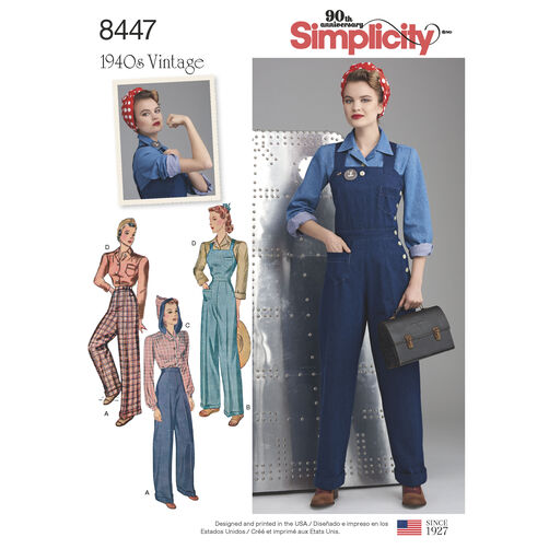 pattern 8447 misses vintage pants overalls and blouses