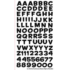Funhouse Black Alpha Metallic Stickers_52-40042