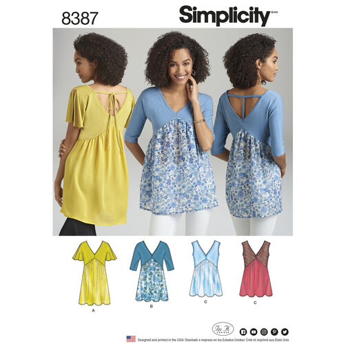 Simplicity Pattern 8387 Misses' Knit and Woven Top with Back Interest