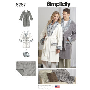 Simplicity Pattern 8267 Misses', Men's and Teens' Robes, Blanket and Pillow