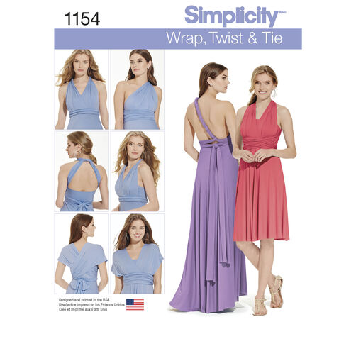 Simplicity Pattern 1154 Misses' Knit Wrap and Tie Dress in Two Lengths