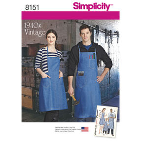 Simplicity Pattern 8151 Vintage Aprons for Boys, Girls, Misses and Men