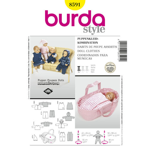 Burda Style Pattern 8591 Doll Clothes