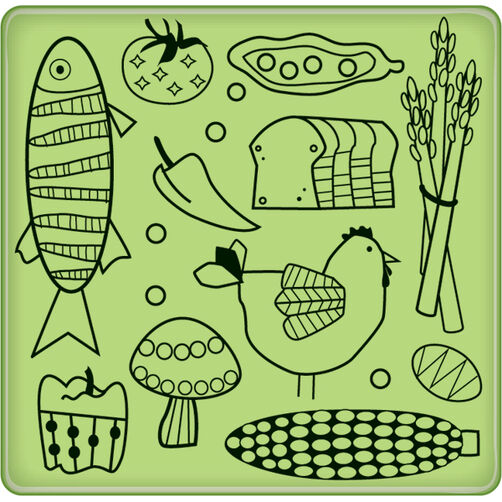 Kitchen Food Pattern Mini Cling Stamp_60-60227