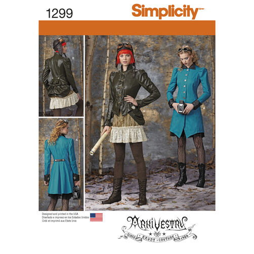 Simplicity Pattern 1299 Misses Costume Coat, Jacket, Bustle and Ruffled Skirts