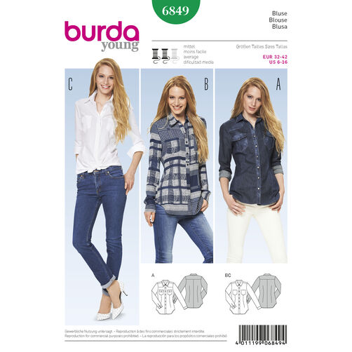Burda Style Pattern 6849 Tops, Shirts, Blouses
