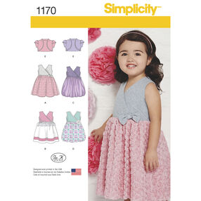 Simplicity Pattern 1170 Toddlers' Dress with Knit Bodice and Bolero