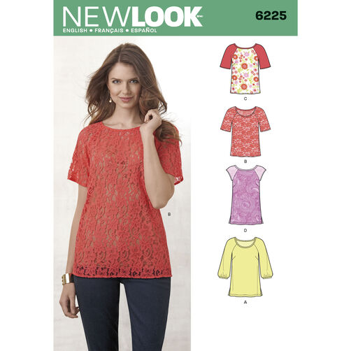 New Look Pattern 6225 Misses' Tops in Two Lengths