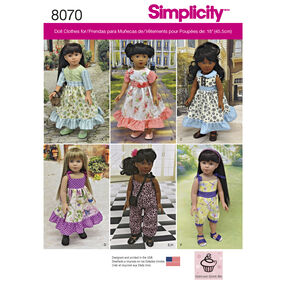 "Simplicity Pattern 8070 Vintage Inspired 18"" Doll Clothes"