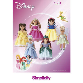 Simplicity Pattern 1581 Disney Princess Doll Clothes