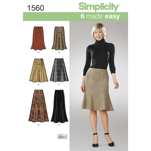 Simplicity Pattern 1560 Misses' Skirts Each in Two Lengths