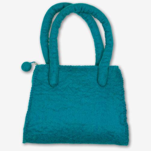 Turquoise Wool Felt Handbag_72-73683