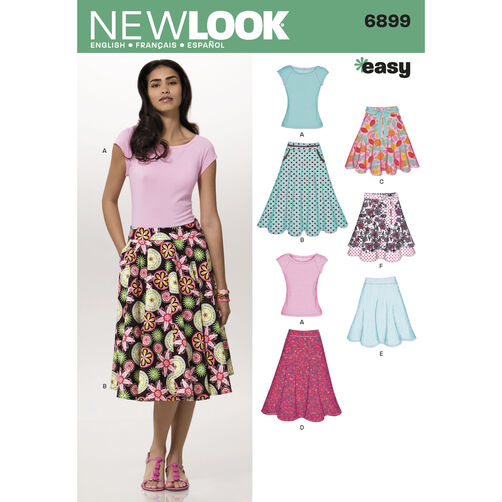 New Look Pattern 6899 Misses' Skirts with Knit Top