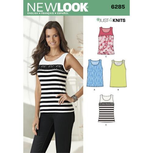 New Look Pattern 6285 Misses' Knit Tank Tops