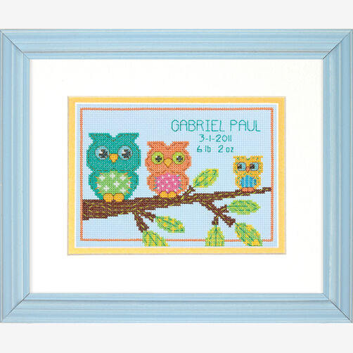 Owl Mini Birth Record, Counted Cross Stitch_70-73699