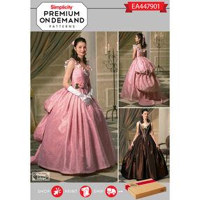 Simplicity Pattern EA447901 Premium Print on Demand Misses' Victorian Gown Costumes