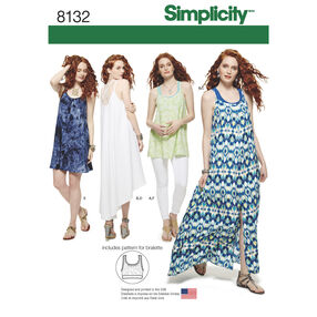 Simplicity Pattern 8132 Misses' Tank Dress or Tunic, and Knit Bralette