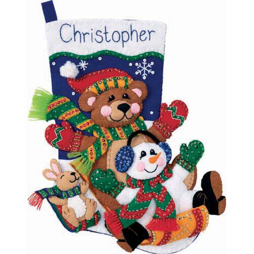 Toboggan Trio Stocking, Felt Applique_08145