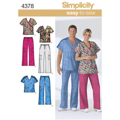 Simplicity Pattern 4378 Misses's, Men's and Teen's Plus Size Scrubs