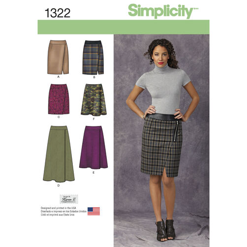 Simplicity Pattern 1322 Misses' Mock Wrap Slim & Flared Skirts