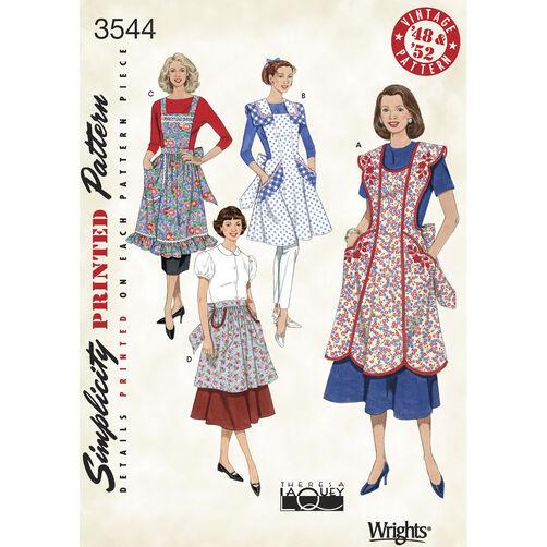 Simplicity Pattern 3544 Misses' 1940s & 1950s Vintage Aprons