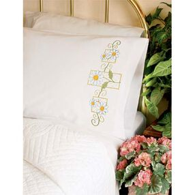 Daisies on Gingham Pillow Cases, Stamped Cross Stitch_73363
