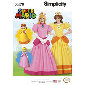 Simplicity Pattern 8476 Misses' Super Mario Princesses Costumes