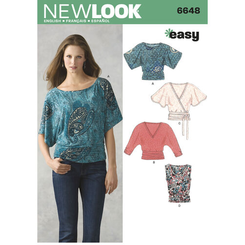 New Look Pattern 6648 Misses Knit Tops