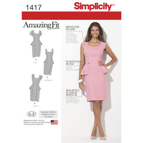 Simplicity Pattern 1417 Misses' and Women's Amazing Fit Peplum Dress