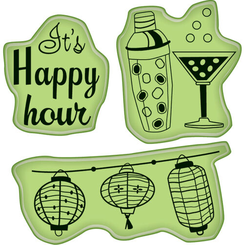 Cocktail Party Icons Mini Cling Stamps_60-60238