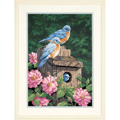 Garden Bluebirds, Paint by Number_91401